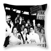 Families Waving And Greeting The Return Throw Pillow