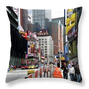 Amidst Color And Construction In Times Square Throw Pillow