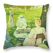 Family In The Orchard Throw Pillow