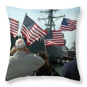 Family Members Wave Flags To Show Throw Pillow
