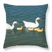 Family Outing On The Lake Throw Pillow