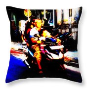 Family Ride In Bali Throw Pillow