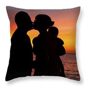 Family Silhouettes At Sunset Throw Pillow