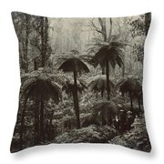 Family Walking Through A Forest Of Tree Throw Pillow