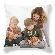 Family With Cockerpoo Pups Throw Pillow