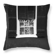 Famous New Orleans Po Boys Neon Window Sign Black And White Accented Edges Digital Art Throw Pillow