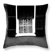Famous New Orleans Po Boys Neon Window Sign Black And White Conte Crayon Digital Art Throw Pillow