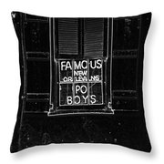 Famous New Orleans Po Boys Neon Window Sign Black And White Glowing Edges Digital Art Throw Pillow