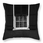 Famous New Orleans Po Boys Neon Window Sign Black And White Poster Edges Digital Art Throw Pillow