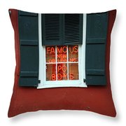 Famous New Orleans Po Boys Red Neon Window Sign  Throw Pillow
