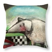 Fancy Dog At Picnic With Water Dish Throw Pillow