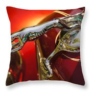 Fancy Ford Chrome Hood Ornament Throw Pillow