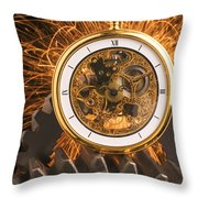 Fancy Pocketwatch On Gears Throw Pillow