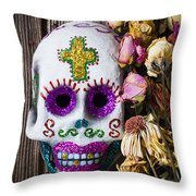 Fancy Skull And Dead Flowers Throw Pillow by Garry Gay