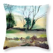 Far Beyond Throw Pillow by Anil Nene