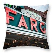 Fargo Theatre Sign In North Dakota Throw Pillow