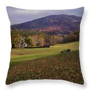 Farm By Ascutney Mountain Vermont Throw Pillow