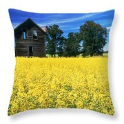 Farm House And Canola Field, Holland Throw Pillow