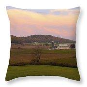 Farm Scene From Knoll On Rt. 41  Throw Pillow