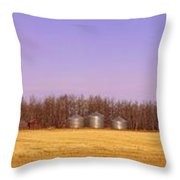 Farm Scene North Of Calgary, Alberta Throw Pillow