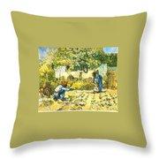 Farm Scene Throw Pillow by Sumit Mehndiratta