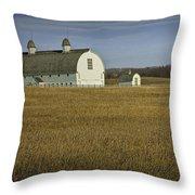 Farm Scene With White Barn Throw Pillow