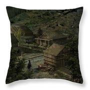 Farm Town Throw Pillow