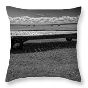 Farm Wagon In A Field On Prince Edward Island Throw Pillow