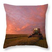 Farmer Harvesting Oat Crop Throw Pillow