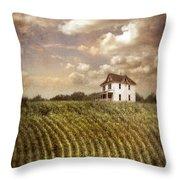 Farmhouse And Cornfield Throw Pillow