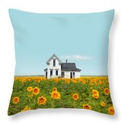 Farmhouse In A Field Of Sunflowers Throw Pillow
