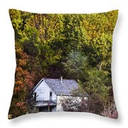 Farmhouse In Fall Throw Pillow