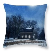Farmhouse Under Full Moon In Winter Throw Pillow