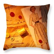 Fashion Old Dress Pattern Throw Pillow by Garry Gay