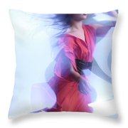 Fashion Photo Of A Woman In Shining Blue Settings Wearing A Red  Throw Pillow