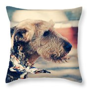 Airedale On The Fashion Runway Throw Pillow