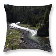 Fast Rapids On Firehole River Yellowstone  Throw Pillow
