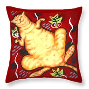 Fat Cat On A Cushion - Orange Cat Throw Pillow