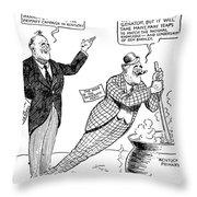 F.d. Roosevelt Cartoon Throw Pillow