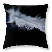 Feather With A Water Drop Throw Pillow
