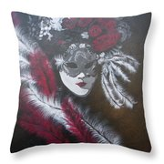 Feathered Rose Throw Pillow