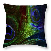 Feathers Of Hope. Blue Touch Throw Pillow