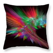 Feathery Bouquet On Black - Abstract Art Throw Pillow