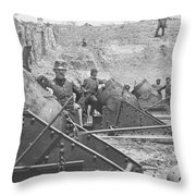 Federal Siege Guns Yorktown Virginia During The American Civil War Throw Pillow