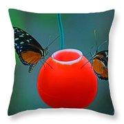 Feeding Butterflies Throw Pillow