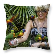 Feeding Rainbow Lorikeets Throw Pillow