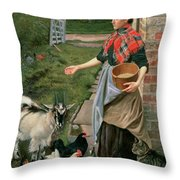 Feeding The Chickens Throw Pillow