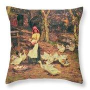 Feeding The Ducks Throw Pillow
