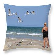 Feeding The Sea Gulls Throw Pillow