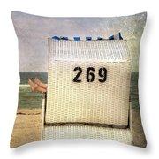 Feet And Beach Chair Throw Pillow by Joana Kruse